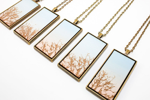 Landscape Painting Pendant - Bare Trees and Winter Skies