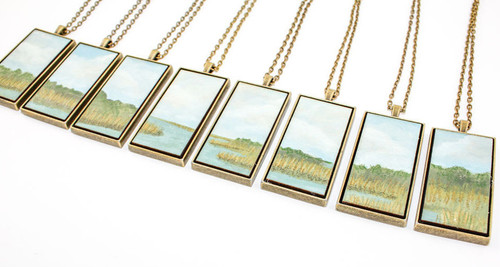 Landscape Painting Pendant - Lowcountry Marsh