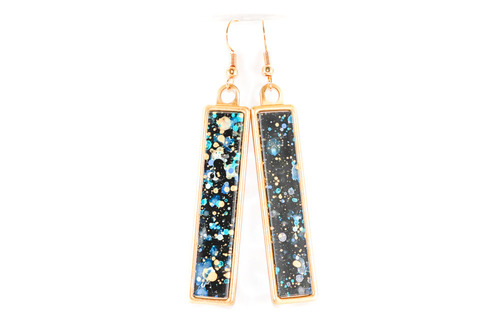 Long Splatter Painted Dangle Earrings - Black Galaxy