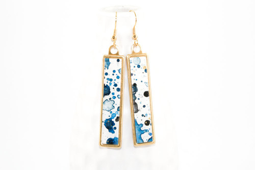 Long Splatter Painted Dangle Earrings - Ink