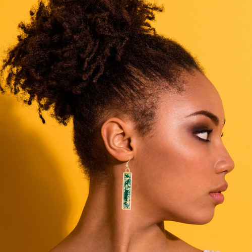 Long Splatter Painted Dangle Earrings - Emerald Isle