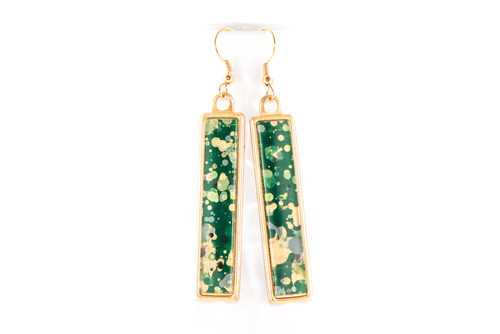 Long Splatter Painted Dangle Earrings - Emerald Isle