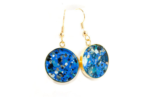 Round Splatter Painted Dangle Earring - Sapphire Sky