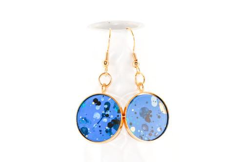Round Splatter Painted Dangle Earring - Sapphire Sky