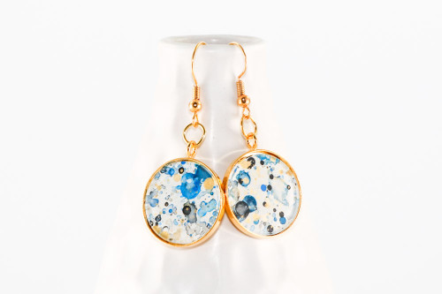 Round Splatter Painted Dangle Earring - Ink