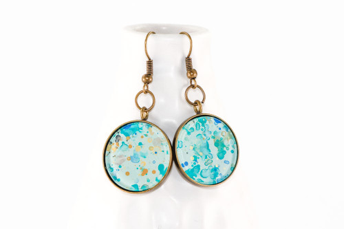 Round Splatter Painted Dangle Earring - Caribbean Waters