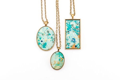 Splatter Painted Pendant - Caribbean Waters (Choose Your Setting)