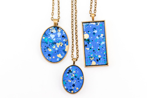 Splatter Painted Pendant - Sapphire Sky (Choose Your Setting)