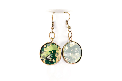 Round Splatter Painted Dangle Earring - Emerald Isle