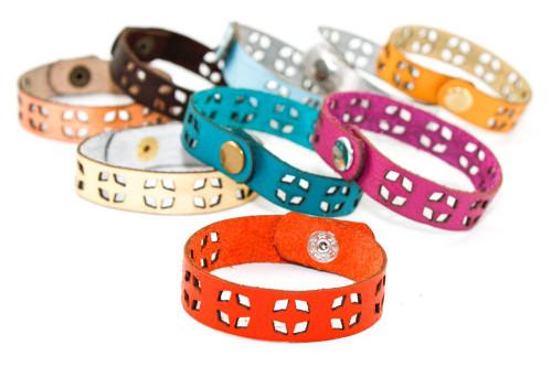 Skinny Leather Bracelet - Geometric Diamond Pattern