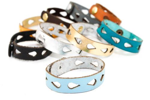 Skinny Leather Bracelet - Teardrop Pattern
