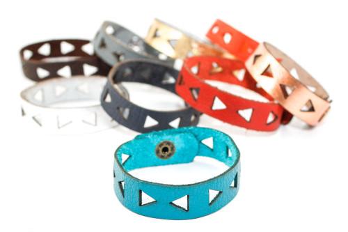 Skinny Leather Bracelet - Triangle Pattern