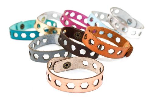 Skinny Leather Bracelet - Hexagon Pattern