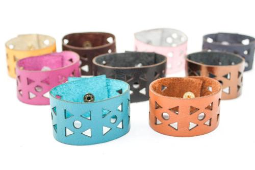 Leather Bracelet -  Triangle Pattern