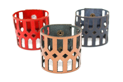 Wide Leather Cuff - Geometric Diamond Pattern