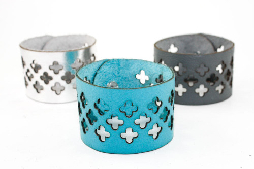 Wide Leather Cuff - Cross Cutouts