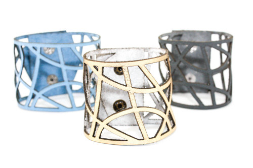 Wide Leather Cuff - Curved Geometry
