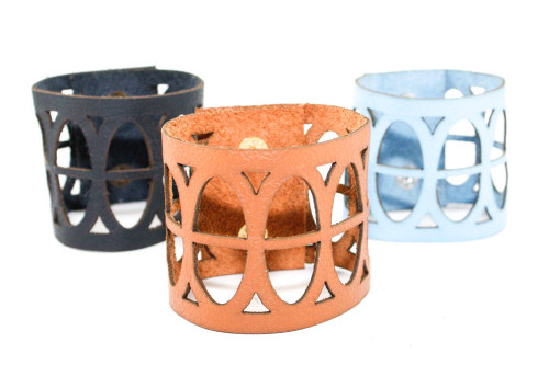 Wide Leather Cuff - Divided Ovals