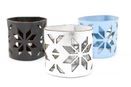 Wide Leather Cuff - Geometric Snowflake Pattern