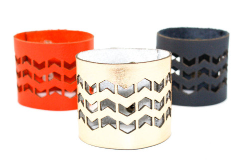 Wide Leather Cuff - Geometric Zigzag Pattern
