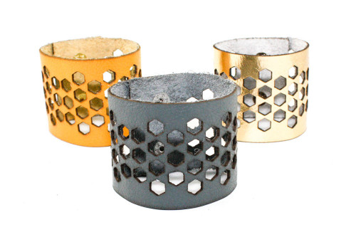 Wide Leather Cuff - Hexagon Pattern