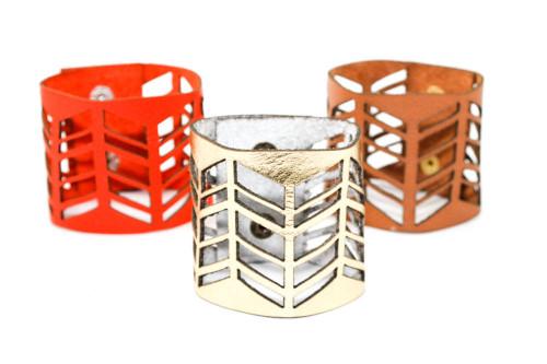 Wide Leather Cuff - Chevron Cutouts