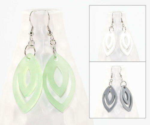 Acrylic Dangle Earrings - Geometric Oval Design