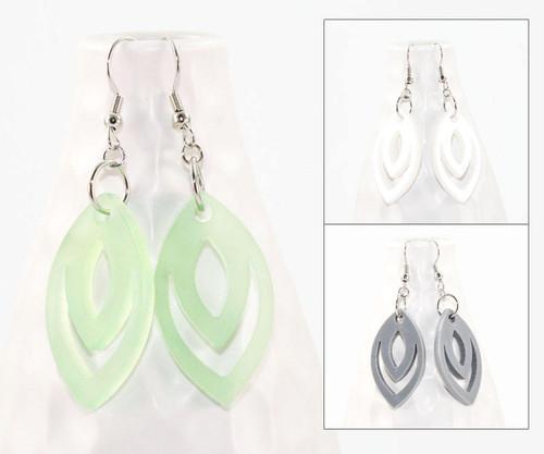 Acrylic Dangle Earrings - Geometric Oval Design