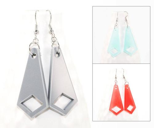 Acrylic Dangle Earrings - Geometric Diamond Design