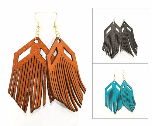 Leather Earrings - Chevron Fringe