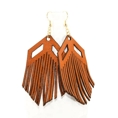 055785ab2 Leather Earrings - Chevron Fringe - Once Again Sam