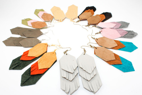 Suede Dangle Earrings - Fringe Layers