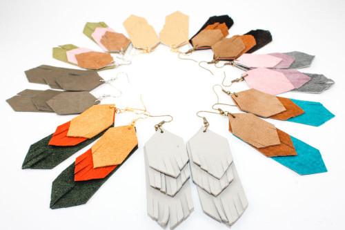 Suede Dangle Earrings - Fringe Layers