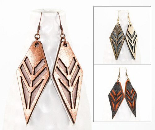 Leather Earrings - Tribal Pattern
