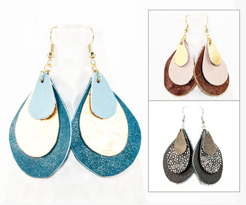 Leather Earrings - Teadrop Layers