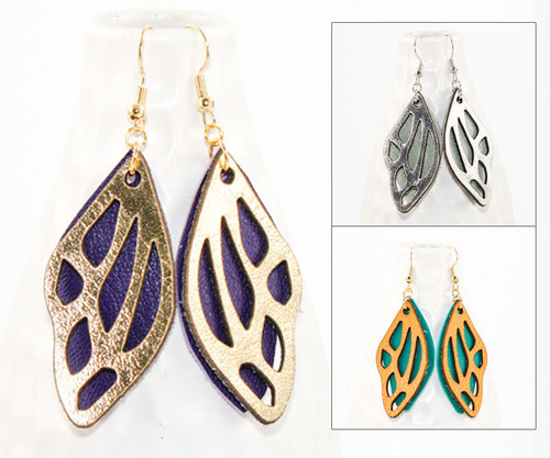 Leather Earrings - Butterfly Wing