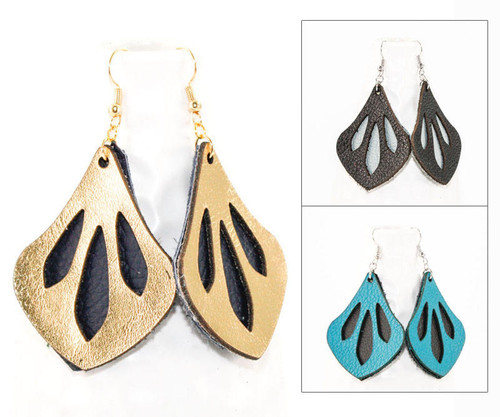 Leather Earrings - Dewdrop