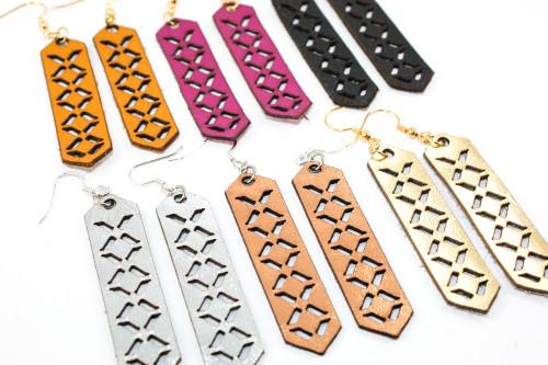Leather Earrings - Geometric Arrow Pattern