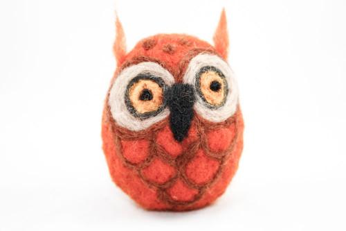 Needle Felted Owl (Orange & Tan)