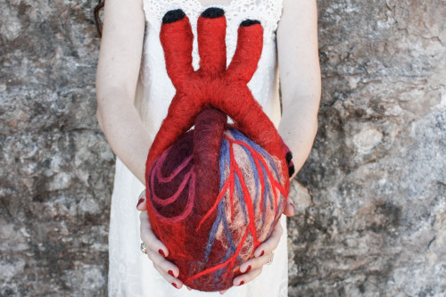 Needle Felted Anatomical Heart (XL)
