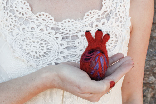 Needle Felted Anatomical Heart (XS)