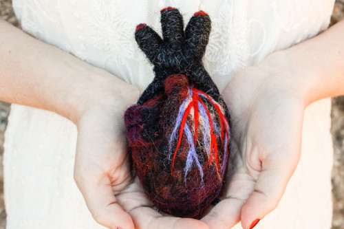 Black Needle Felted Anatomical Heart (Human-Scale)