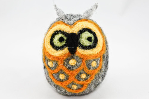 Needle Felted Owl (Gray & Yellow)