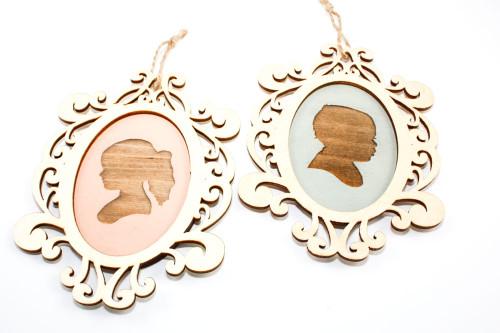 Custom Children's Portrait Ornament with Decorative Wood Frame - Choose Your Color