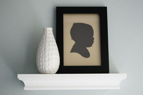 Paper Cutout Portrait - Children's Silhouette (Tan & Gray)