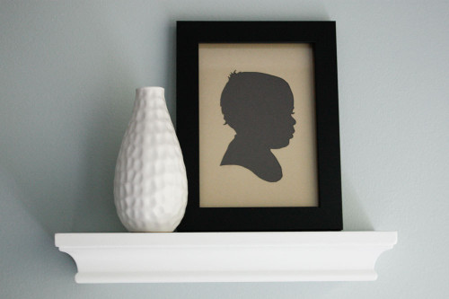 Paper Cutout Portrait - Children's Silhouette (Tan & Gray)