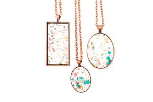 Splatter Painted Pendant - Garden Party (Choose Your Setting)