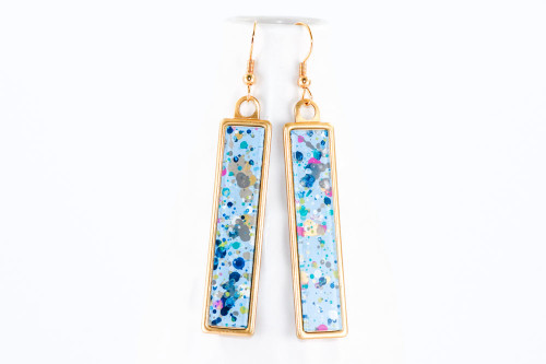 Long Splatter Painted Dangle Earrings - Confetti