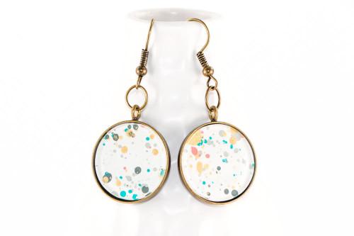 Round Splatter Painted Dangle Earring - Garden Party