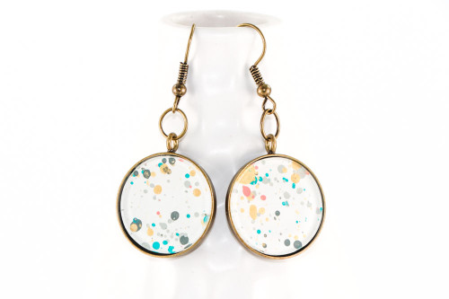 Round Splatter Painted Dangle Earring - Garden Party